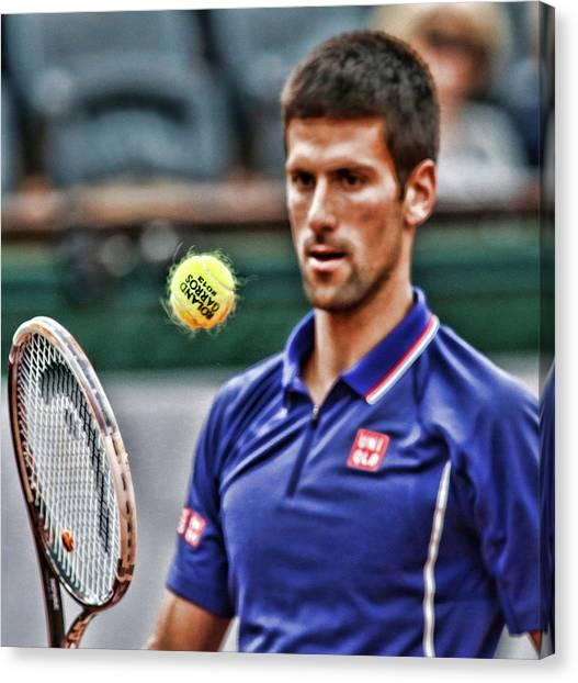 Novak Djokovic Canvas Print - Tennis Star Novak Djokovic by Srdjan Petrovic