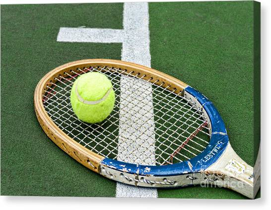 Tennis Racquet Canvas Print - Tennis - Wooden Tennis Racquet by Paul Ward