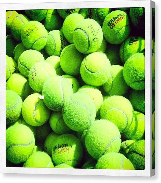 Tennis Ball Canvas Print - #tennis #working #canon #photographer by Nicole Sweet