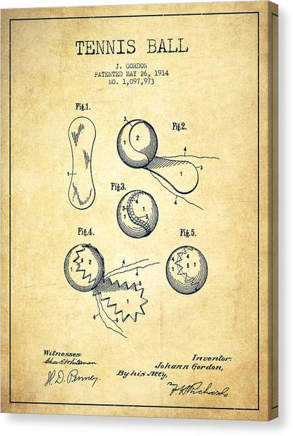 Tennis Ball Canvas Print - Tennnis Ball Patent Drawing From 1914 - Vintage by Aged Pixel