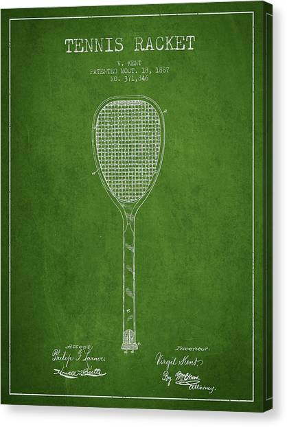Tennis Ball Canvas Print - Tennnis Racket Patent Drawing From 1887 by Aged Pixel