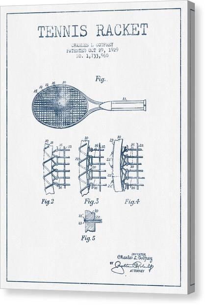 Tennis Ball Canvas Print - Tennnis Racket Patent Drawing From 1929  -  Blue Ink by Aged Pixel
