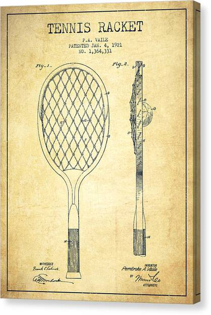 Tennis Ball Canvas Print - Tennnis Racketl Patent Drawing From 1921 - Vintage by Aged Pixel