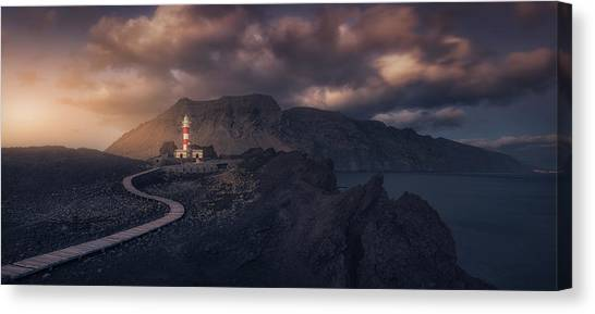 Sundown Canvas Print - Tenoa?s Lighthouse by Iv?n Ferrero