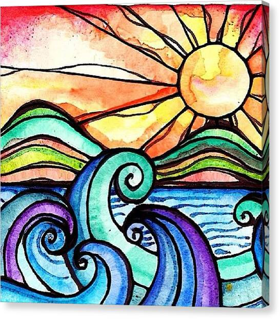 Watercolor Canvas Print - Tequila Sunrise #aceo #artcard #art by Robin Mead