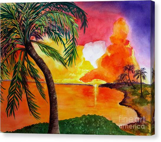 Canvas Print featuring the painting Tequila Sunset by Diane DeSavoy