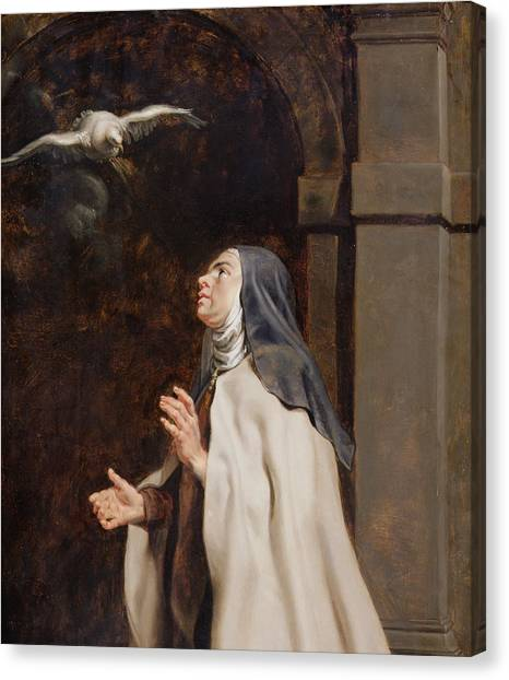 Baroque Art Canvas Print - Teresa Of Avilas Vision Of A Dove by Peter Paul Rubens