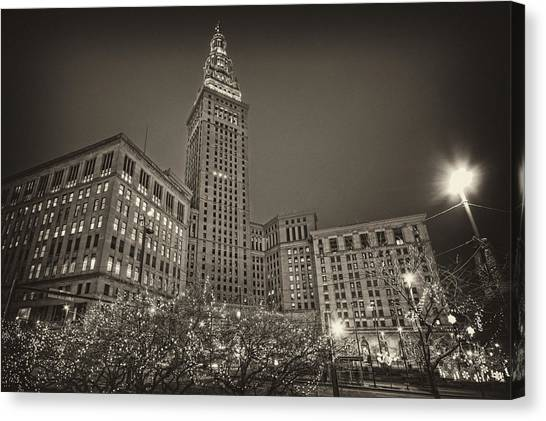 Terminal Tower At Night Canvas Print