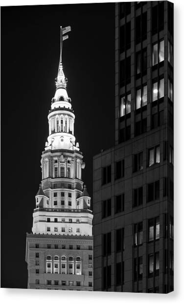 Terminal Tower In Black And White  Canvas Print