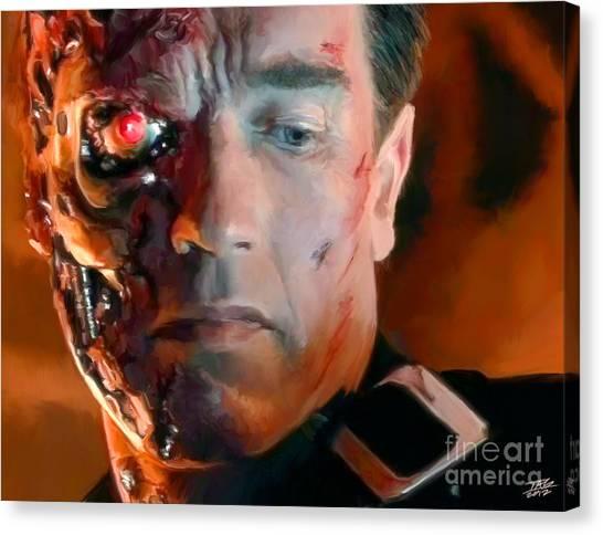 Arnold Schwarzenegger Canvas Print - Terminator by Paul Tagliamonte