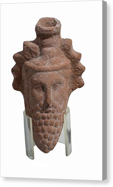 Hellenistic Art Canvas Print - Terra-cotta Dionysus Head Flask by Photostock-israel