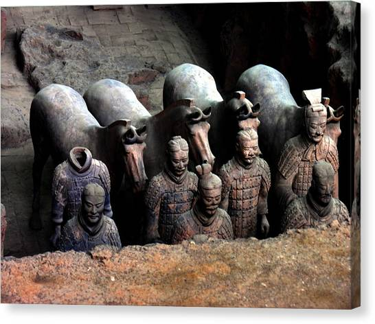 Terra Cotta Warriors Xiang China Canvas Print by Jacqueline M Lewis