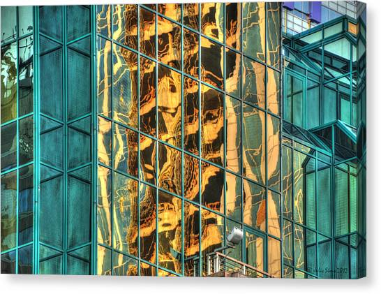 Terrific Warsaw Under Construction Glass Reflections Canvas Print