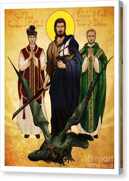 Priests Canvas Print - Terror Of Demons by Lawrence Klimecki