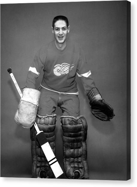 Detroit Red Wings Canvas Print - Terry Sawchuk Portrait Poster by Gianfranco Weiss
