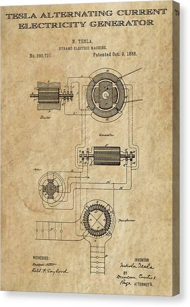 Transmission Canvas Print - Tesla Alternating Current 3 Patent Art 1888 by Daniel Hagerman
