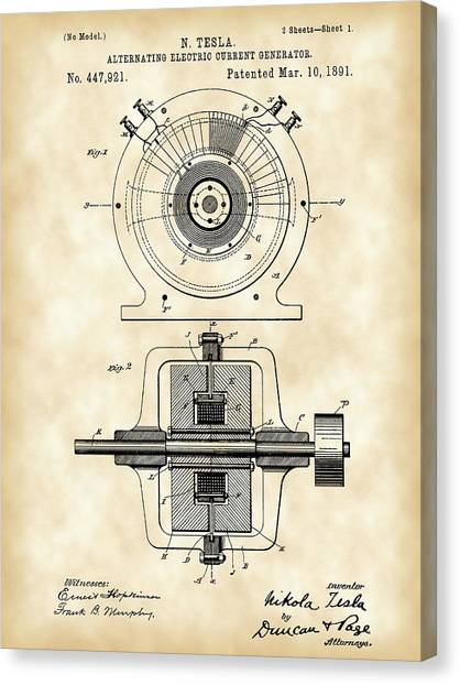 Tesla Alternating Electric Current Generator Patent 1891 - Vintage Canvas Print