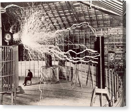 Tesla Coil Experiment Canvas Print by Nikola Tesla Museum/science Photo Library