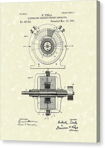 Canvas Print featuring the drawing Tesla Generator 1891 Patent Art by Prior Art Design