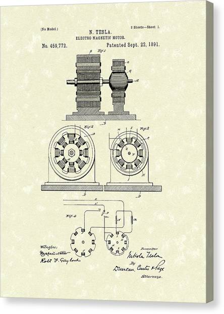 Canvas Print featuring the drawing Tesla Motor 1891 Patent Art by Prior Art Design