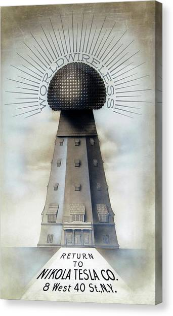 Tesla's Wardenclyffe Tower Laboratory Canvas Print by Nikola Tesla Museum/science Photo Library