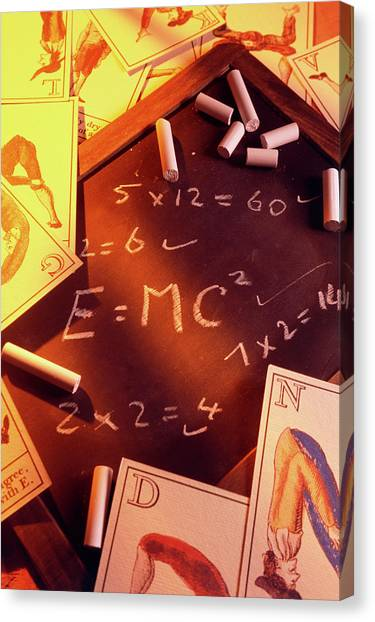 Test Answers Including E=mc2 On A Blackboard Canvas Print by Tony Craddock/science Photo Library