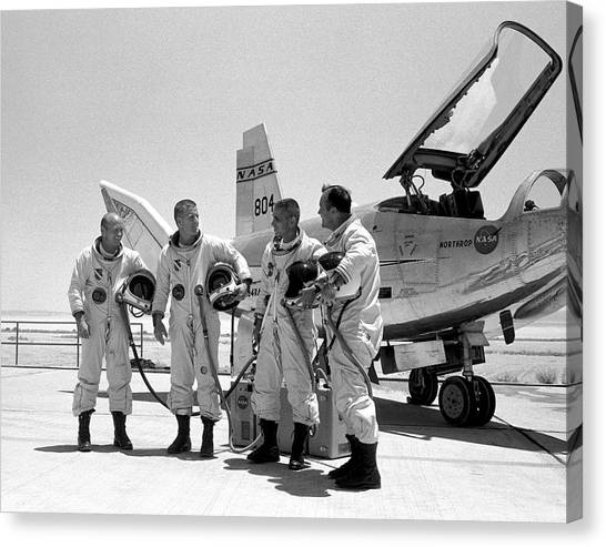 Astronauts Canvas Print - Test Pilots And Northrop Hl-10 by Nasa