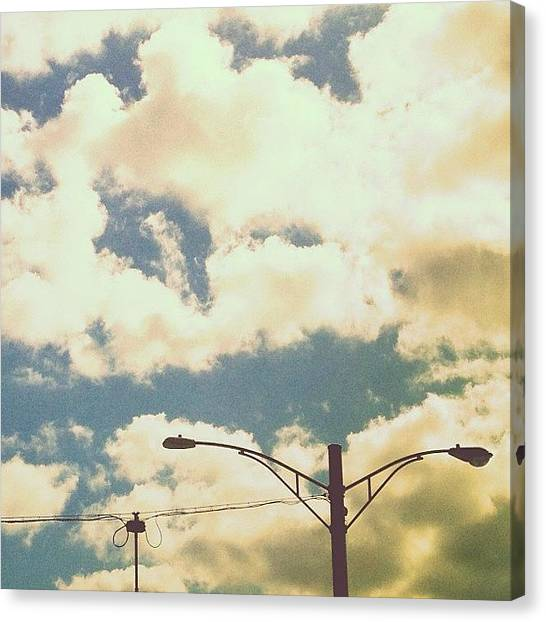 Jerseys Canvas Print - Tethered #streetlights #wires #clouds by Red Jersey