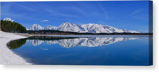 Teton End Of Winter Reflections Canvas Print