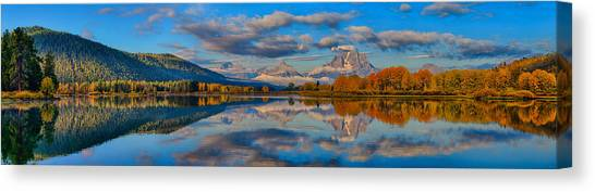 Teton Panoramic Reflections At Oxbow Bend Canvas Print