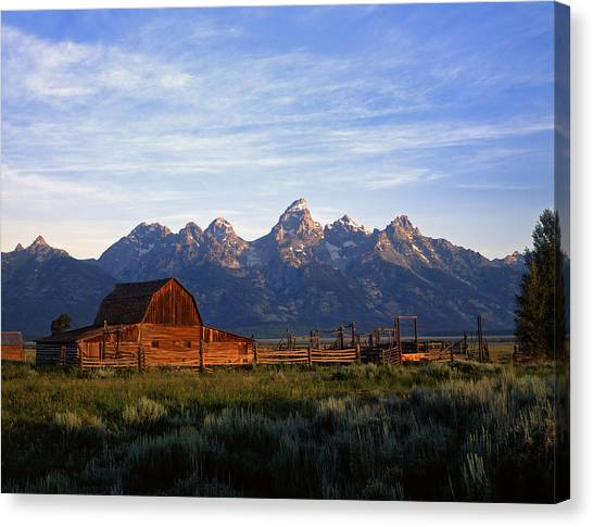 Teton Ranch Autumn Canvas Print by Mike Norton
