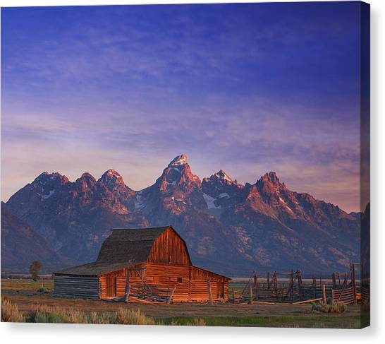 Mountain Sunrises Canvas Print - Teton Sunrise by Darren  White