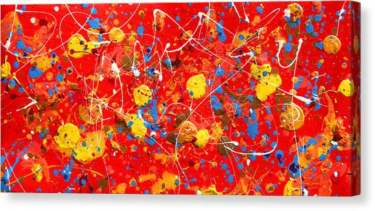 Tetraptych Cosmic Energy - Red Canvas Print