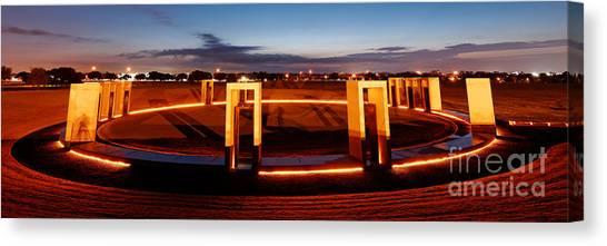 The University Of Texas Canvas Print - Texas A And M Bonfire Memorial At Dawn - College Station Texa by Silvio Ligutti