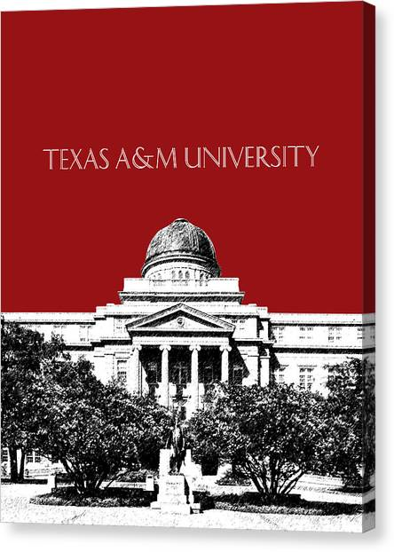 Academic Art Canvas Print - Texas A And M University - Dark Red by DB Artist
