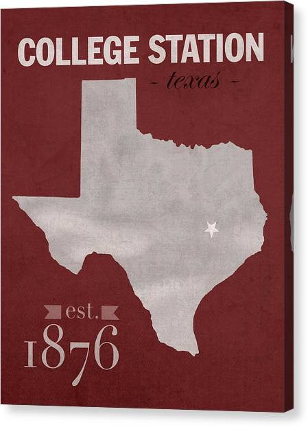 Texas A Canvas Print - Texas A And M University Aggies College Station College Town State Map Poster Series No 106 by Design Turnpike