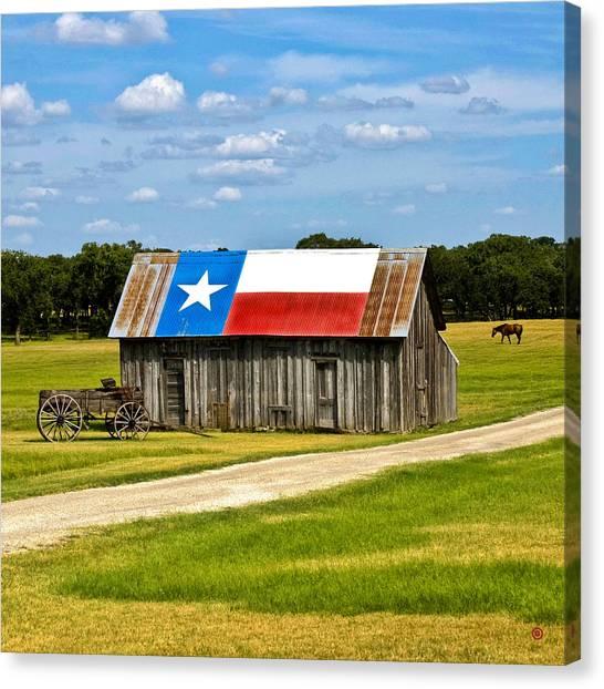 Texas Barn Flag Canvas Print