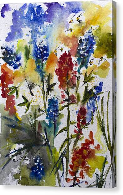 Texas Blue Bonnets And Indian Paintbrush Watercolor Canvas Print