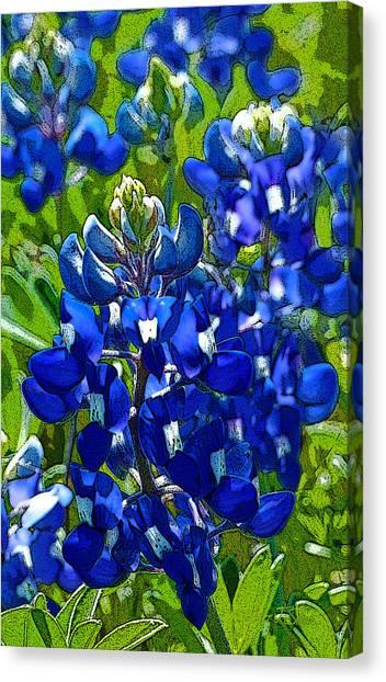 Texas Bluebonnets - Posterized Image Canvas Print