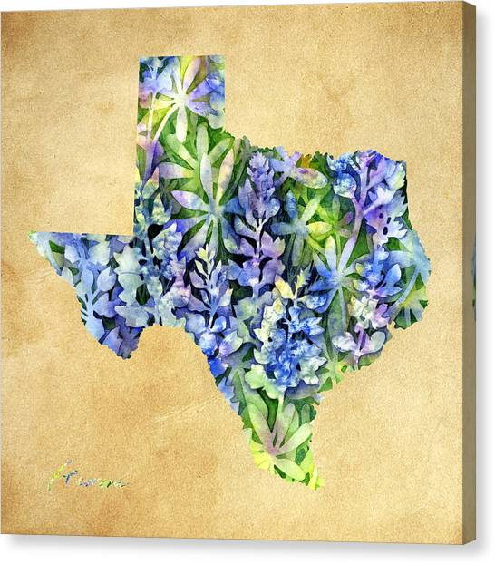 Texas State University Texas State Canvas Print - Texas Blues Texas Map by Hailey E Herrera