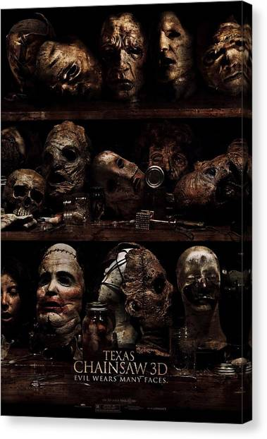Chainsaw Canvas Print - Texas Chainsaw 3d Faces by Movie Poster Prints
