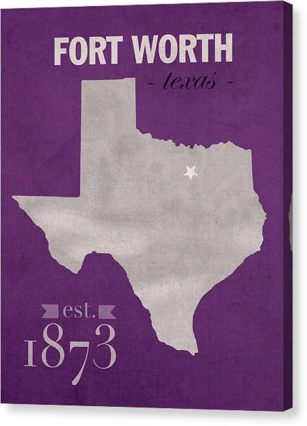Texas Christian University Canvas Print - Texas Christian University Tcu Horned Frogs Fort Worth College Town State Map Poster Series No 107 by Design Turnpike