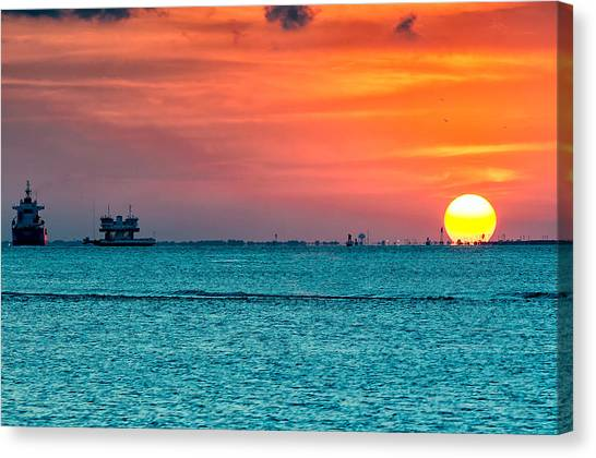 Sunset On The Houston Ship Channel Canvas Print