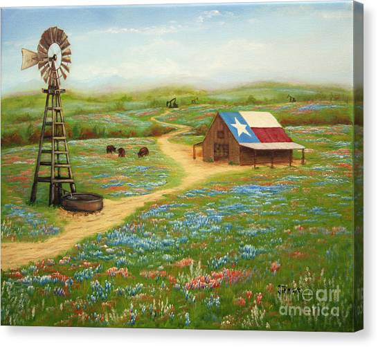 Bonnet Canvas Print - Texas Countryside by Jimmie Bartlett