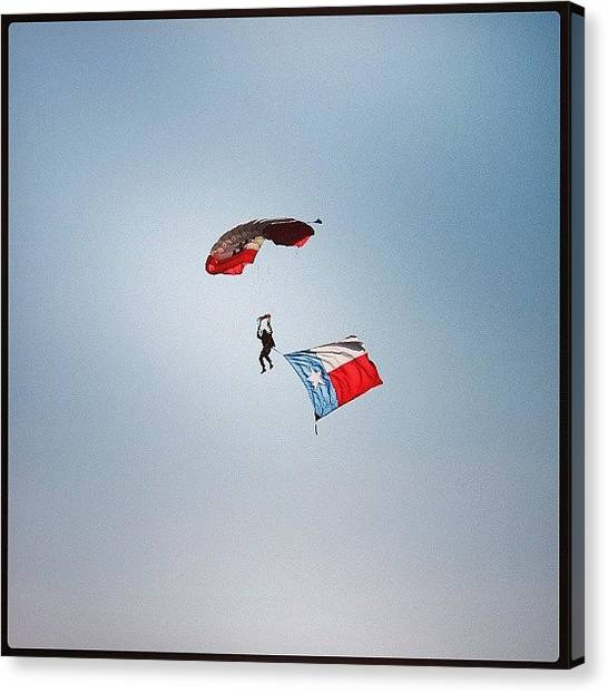 Paratroopers Canvas Print - #texas #flag #paratrooper #sky by Alex Garcia