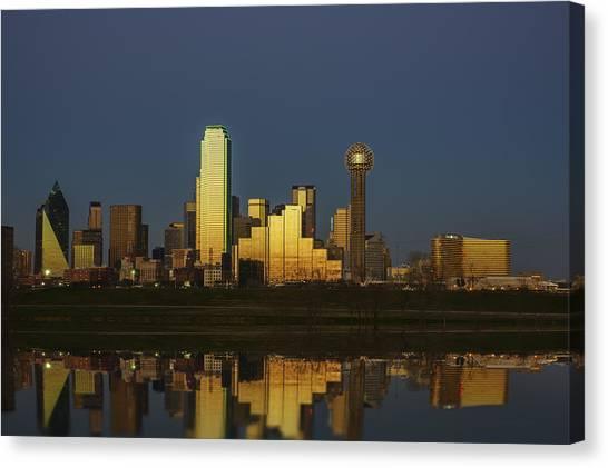 Dallas Skyline Canvas Print - Texas Gold by Rick Berk