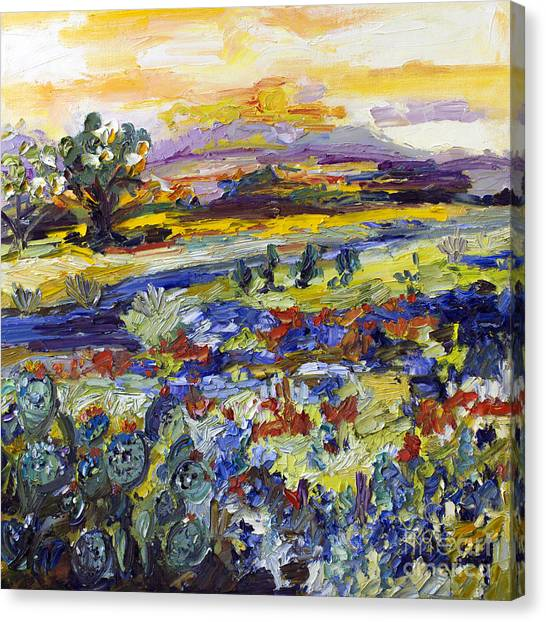 Texas Hill Country Bluebonnets And Indian Paintbrush Sunset Landscape Canvas Print