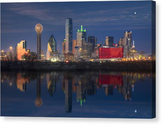 Dallas Skyline Canvas Print - Texas Images - The Dallas Skyline Reflected In The Trinity River by Rob Greebon