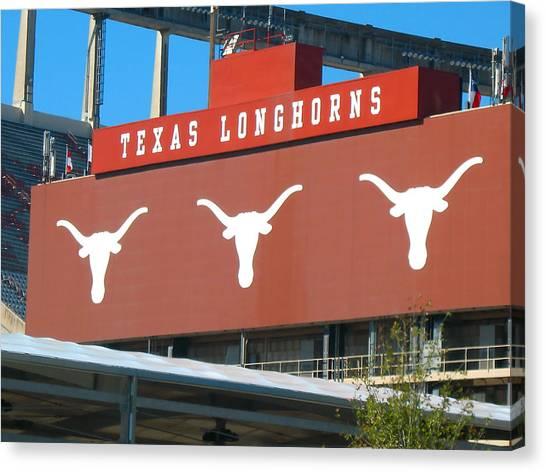 The University Of Texas Canvas Print - Texas Longhorns Sign by Connie Fox