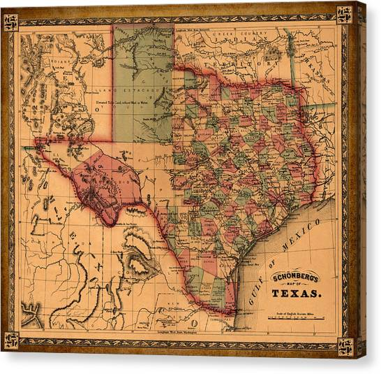 Cartography Canvas Print - Texas Map Art - Vintage Antique Map Of Texas by World Art Prints And Designs